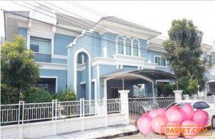 Code9799 ขายบ้านเดี่่ยว 2 ชั้นหลังใหญ่ สีฟ้าสวย European Town อ่อนนุชลาดกระบัง ยูโรเปี้ยน ทาวน์