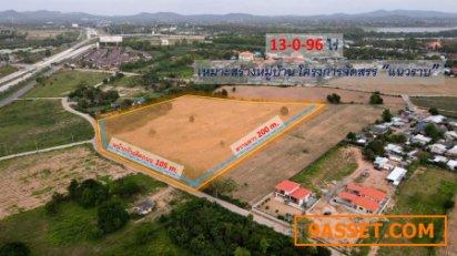 ขายที่ดิน ใกล้หาดพัทยา #เลียบถนน Motorway อ.บางละมุง จ.ชลบุรี ( เหมาะสร้างหมู่บ้าน โครงการจัดสรร แนวราบ ) 13-0-96 ไร่ หน้ากว้าง 105 m.