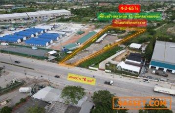 ขายถูก! ที่ดินสร้างตลาดนัด อ.ศรีราชา จ.ชลบุรี (แหล่งนิคมแหลมฉบัง) บนเนื้อที่กว้าง 4-2-65 ไร่ ติดถนนใหญ่กว้าง 6 เลน #บนทำเลแหล่งคนทำงาน
