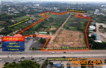 ขายถูกที่ดิน อ.เมืองพิษณุโลก—ติดถนนหมายเลข 12 (ฝั่งตรงข้าม Central Plaza) 54-3-81.5 ไร่ ติดถนน 3 ฝั่ง # เหมาะสร้างโครงการจัดสรร + โรงพยาบาล