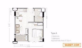 ขายด่วน Condo The Energy Huahin 1 Bed 1.89 Mb.