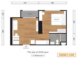 เจ้าของขายเอง ขายดาวน์คอนโดลุมพินี สวีท เพชรบุรี มักกะสัน LPN suite Makkasan 33ตรม 1ห้องนอน วิวสวน
