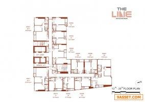 ขาย โครงการ The Line ราชเทวี SUPER LUXURY CLASS ขนาดห้อง 35.41 ตรม. แบบ 1 ห้องนอน 1 ห้องน้ำ