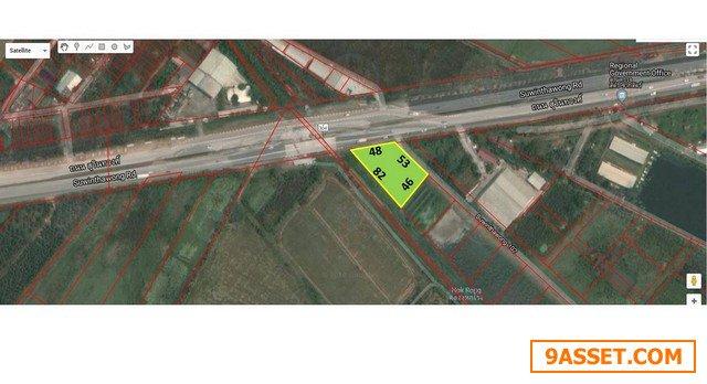 ขายที่ดิน ด้านหน้าติดถนนสุวินทวงศ์ ด้านข้างติดซอยกว้าง16เมตรด้านหลังติดคลอง กว้าง 48 ลึก 82 ม.