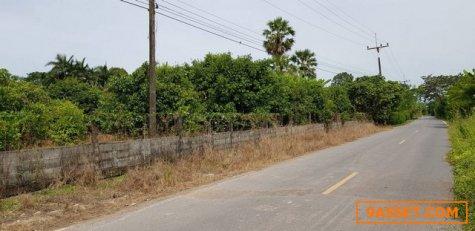 ขายที่ดินหน้าติดถนนดำหลังติดคลอง สวนผลไม้เนื้อที่ตามโฉนด 4ไร่ 2งาน
