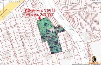 ขายที่ดินติดถนนจรัญสนิทวงศ์ ใกล้ซอย 97 พื้นที่สีน้ำตาล 4-3-28 ไร่ ติดถนน 40 เมตร
