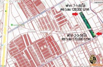 ขายที่ดินติดถนนกัลปพฤกษ์ กรุงเทพฯ 2 แปลง รวม 10-1-43 ไร่