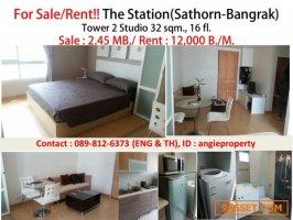 For Rent! The Station  (Sathon-Bangrak) near BTS saphantaksin  500 m.